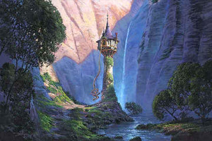 A beautiful painting of Rapunzel's tower hidden among the forest.