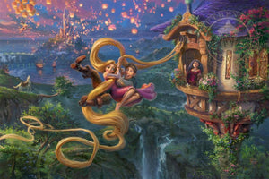 Mother Gothel watches from the tower's window as Rapunzel and Flynn use Rapunzel's long hair as a rope to escape the tower - Unframed.