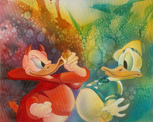 A portrait of Donald Duck's two personalities - the tempermental one and the carefree one.