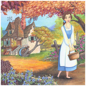 The Flowery Path by Michelle St. Laurent.  Belle strolls through flowery path near the village, holding her basket - closeup