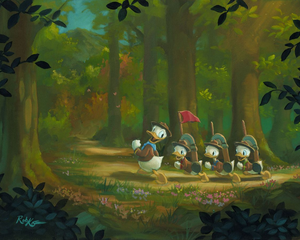 Scout Donald Duck marchs through the forest trails with his 3 nephews Huey, Dewey, and Loui