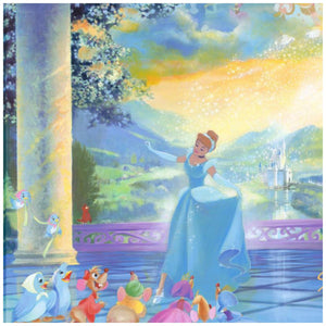 The Life She Dreams Of by John Rowe. Cinderella dancing in the palace in her beautiful blue gown, Jaq, Gus, and her animal friends, watch her come from scullery maid to a beautiful princess, a dream come true.-closeup