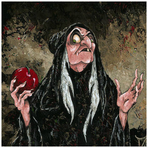 The Magic  Wishing Apple by Trevor Mezak  The old hag (Evil Queen) holding the poisonous shiny red apple - closeup