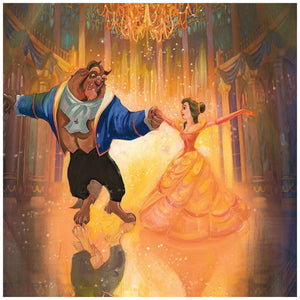The Perfect Dance by John Rowe.  The magic of love surrounds Belle and the Beast, in their finest hour together - closeup.