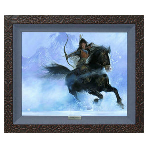 The Point of her Arrow by John Rowe.  Mulan the warrior princess with horse and bow an arrow in hand, while riding in the snow.