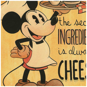 The Secret Ingredien tby Michelle St. Laurent.  Mickey the chef carrys the serving tray with the secret meal, in this vintage style sepia tone colors print - closeup.