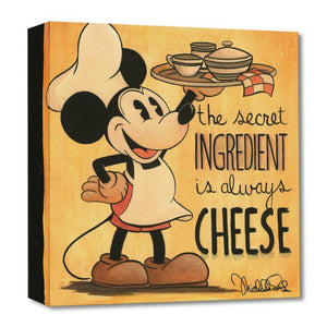 The Secret Ingredien tby Michelle St. Laurent.  Mickey the chef carrys the serving tray with the secret meal, in this vintage style sepia tone colors print.