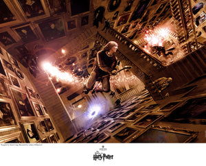 Fred and George Weasley flying on their magical broom sticks over the Great Hall, from the movie Harry Potter and the Order of the Phoenix.