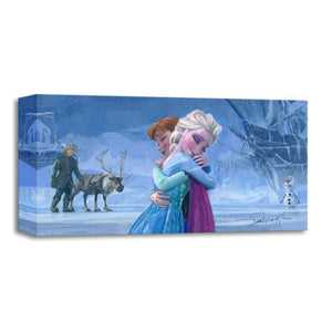 "The Warmth of Love by Michelle St. Laurent.   Inspired by Disney film's ""Frozen"". Elsa and Anna sharing a sisterly love embrace."