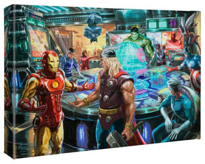 The warning message of this pending attack appears on their monitors. Iron Man, Thor, the Hulk, Hawkeye, Ant-Man, Wasp, Captain America, the Scarlet Witch, Quicksilver, Vision, Beast and Nick Fury get ready for an epic battle. - Gallery Wrap Canvas