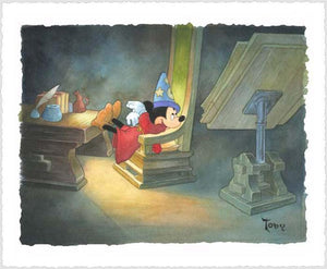 Mickey the Sorcerer feels enititle to relax as he glances back at the magic spell book.
