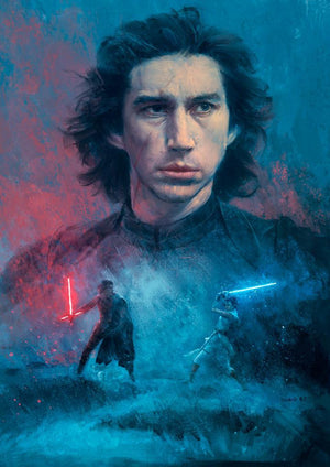 Kylo Ren in a duel with Rey. - canvas
