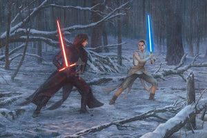 Rey and Kylo first lightsaber duel,