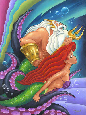 Ariel and her father King Triton, swimming away from the grips of Ursula t