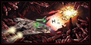 The Millennium Falcon being chased by the TIE fighters in the Battle of Crait.