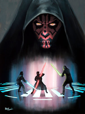 Darth Maul dueled with Qui-Gon and his apprentice - Obi-Wan Kenobi.