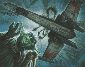 Yoda using the force to lift to Luke's X-wing Starfighter from the swamp