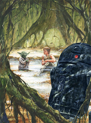 Master Jedi - Yoda giving Luke his Jedi training. Star Wars: The Empire Strikes Back inspired print.