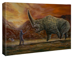 Mando and the Child confronts the Mudhorn beast.  - Gallery Wrap Canvas