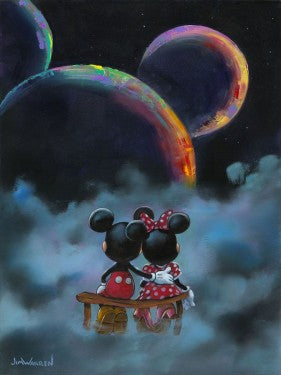 Mickey and Minnie sitting above watching the 3 planets align to form a mouse's head.