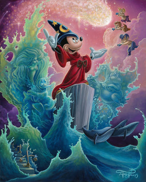Mickey using his magical sorcerer's powers to create waves