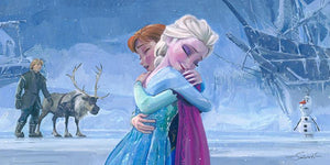 Frozen's -Elsa and Anna sharing a sisterly embrace