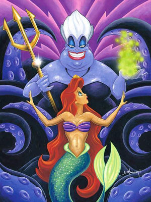 Ariel is over shadowed by the gigantic Sea Witch Ursula, at her back.
