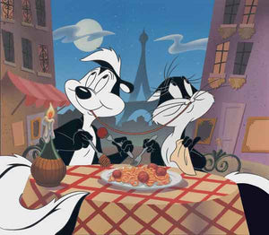 Pepe Le Pew and Penelope are enjoying a romantic spaghetti style Italian dinner, under the moonlight.
