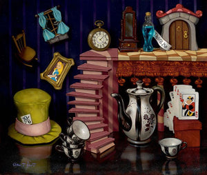 The Mad Hatter's hat, the teapot and cups, playing cards, Alice's framed picture, all depicted in this painting.