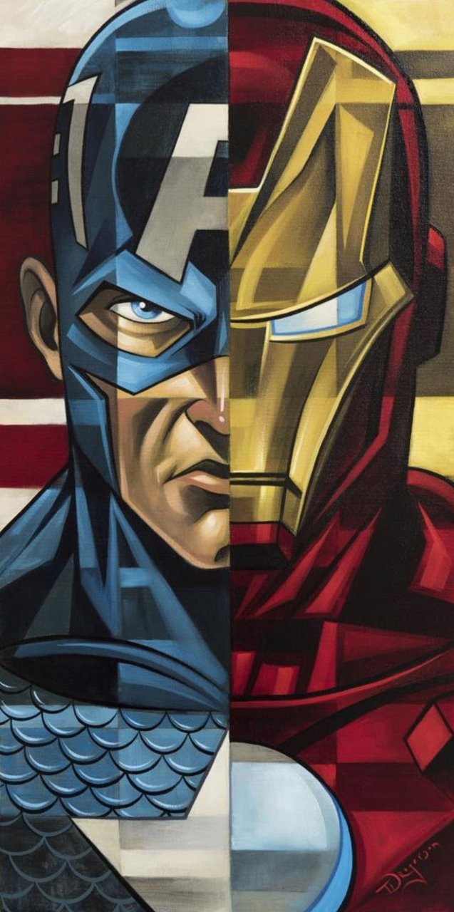 Captain America vs Iron Man - Marvel Art