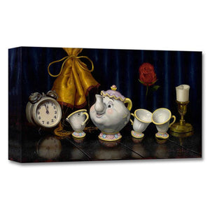 Time For Tea by Clinton Hobart.  The lineup of the characters from Beauty and the Beast, Mrs. Potts, Chip, Cogworth and Lumiere