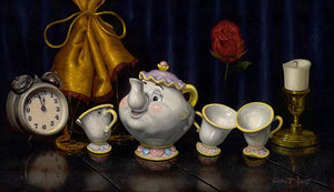 Mrs. Potts and her tea cups, along with a clock and candle.