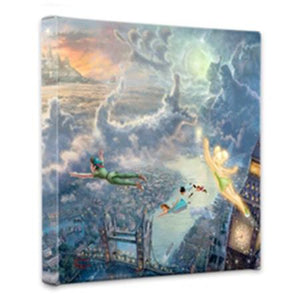 Tinker Bell, and Peter fly over the London Bridge on their way to Neverland at a distance.  Captain Hook, Smee, the Lost Boys, and the ubiquitous ticking crocodile. all take form in the clouds. 14x14