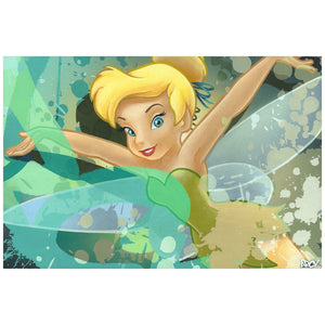 Tinker Bell flying through a painted  splash of a colored background.