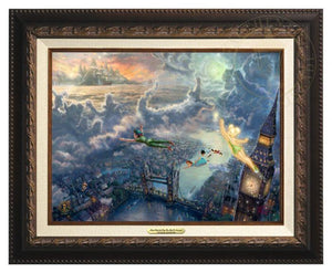 Tinker Bell and Peter Pan Fly to Neverland by Thomas Kinkade Studios.  Tinker Bell, Peter Pan along with Wendy, Michael, and John fly over the London Bridge, the city lights twinkle along the river Thames, as the clouds take shape, as characters from the adventure - Aged Bronze Frame