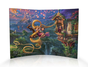 Flynn and Rapunzel swing free from the tower curved print