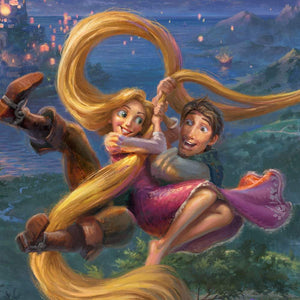Rapunzel and Flynn escaping the tower closeup 1