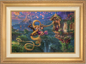 Mother Gothel watches from the tower's window as Rapunzel and Flynn use Rapunzel's long hair as a rope to escape the tower- Antique Gold Frame