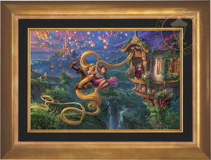 Mother Gothel watches from the tower's window as Rapunzel and Flynn use Rapunzel's long hair as a rope to escape the tower - Aurora Gold Frame