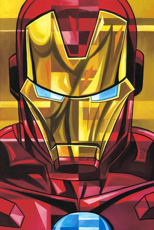 Up close portrait of Iron Man.