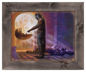 Mandalorian, the hardened bounty hunter finally meets the child and reaches out his hand. - Famed Metal Print