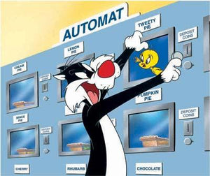 "Sylvester invades the Automat and passes the Cream, Pumpkin and Chocolate Pie for a little slice of Tweety ""Pie,"""