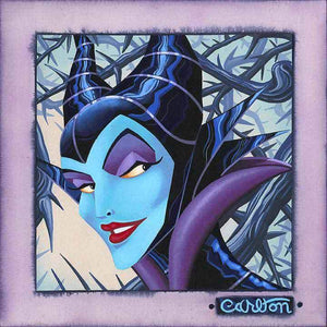A portrait of Maleficent, featured in a blue face and twisted in spiky vines.