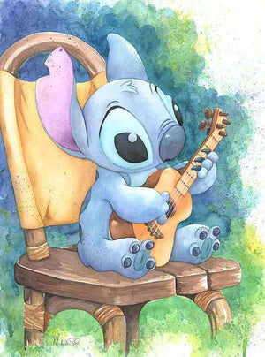 Stitch sitting playing his Ukulele.
