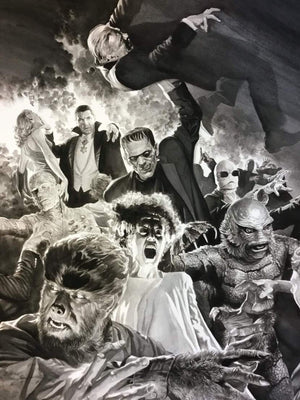 Dracula, Frankenstein, The Mummy, The Invisible Man, The Wolf Man and Creature.