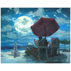 Under the Moonlight by James Coleman   Mickey and Minnie are enjoying the moonlight evening at the beach while relaxing in their favorite on Adirondack chairs under the red umbrella.