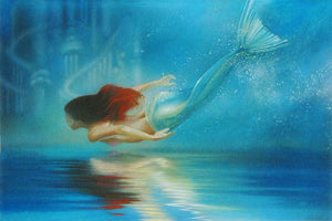 Princess Ariel flowing red hair and bluish-green mermaid tail swimming gracefully in the deep sea.