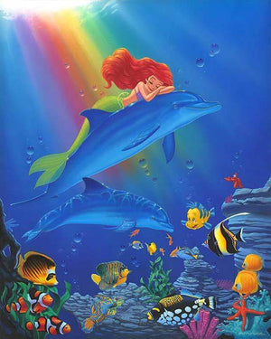 Ariel the little mermaid, dreams as she sleeps on the back of dolphin.
