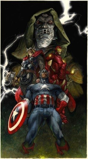 An amazing piece featuring Doctor Doom, Thor, Iron Man & Captain America.