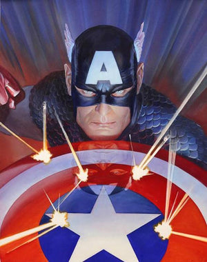 Visions: Captain America by Alex Ross  Dynamically rendered in portrait style, Captain America's intense gaze transports the viewer from mere spectator to the villain's perspective.